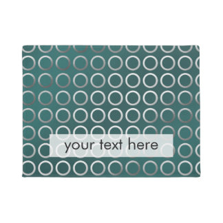 silver geometric circles pattern | turquoise green doormat