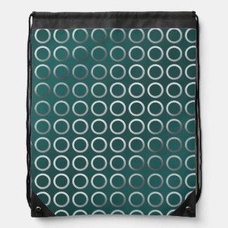 silver geometric circles pattern | turquoise green drawstring bag