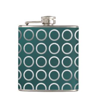 silver geometric circles pattern | turquoise green hip flask