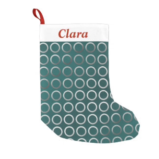 silver geometric circles pattern | turquoise green small christmas stocking