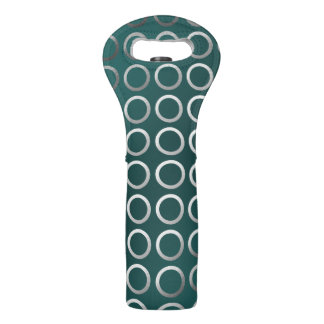 silver geometric circles pattern | turquoise green wine bag