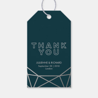 Silver Geometric Diamond Wedding Thank You Favor Gift Tags