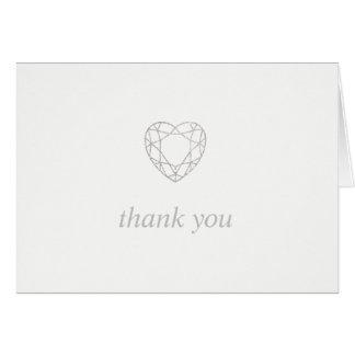 Silver geometric heart thank you - folded card