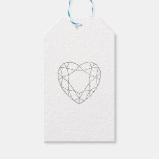 Silver geometric heart wedding favor tag