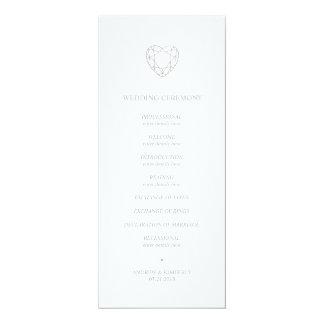 Silver geometric heart wedding program