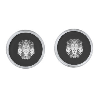 Silver Geometric Lion Silver Finish Cufflinks
