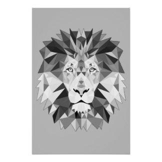 Silver Geometric Lions Head