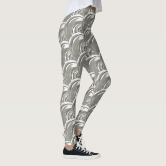Silver Geometric Yoga Leggings