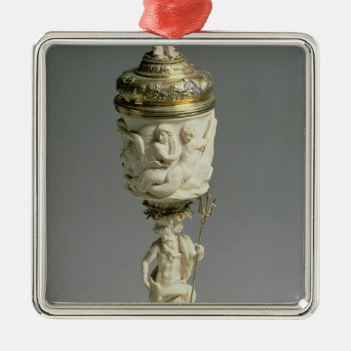 Silver gilt and carved ivory goblet christmas tree ornament
