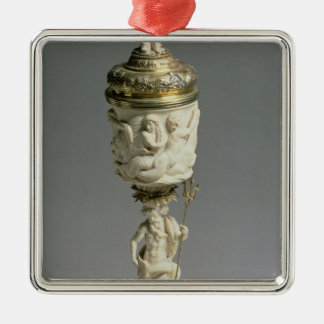 Silver gilt and carved ivory goblet Silver-Colored square decoration