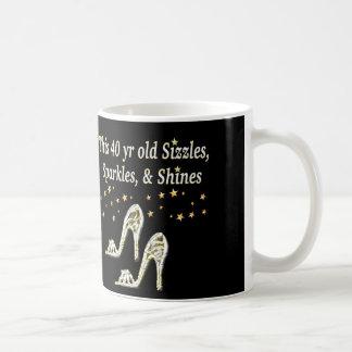 SILVER GLAMOROUS 40TH BIRTHDAY DESIGN COFFEE MUG