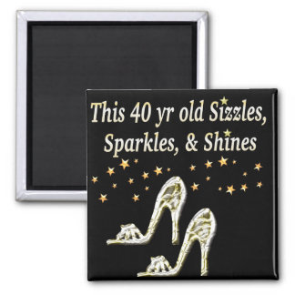 SILVER GLAMOROUS 40TH BIRTHDAY DESIGN SQUARE MAGNET