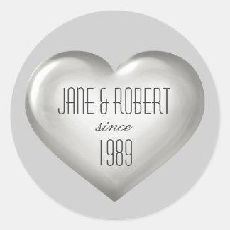 Silver glass heart wine label stickers