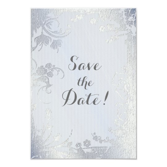 Silver Glimmer Floral Save The Date Card
