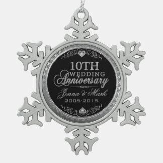 Silver Glitter 10th Wedding Anniversary Ornament