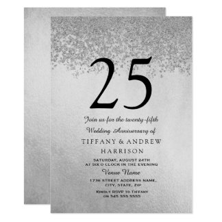 Silver Glitter 25th Wedding Anniversary Invitation