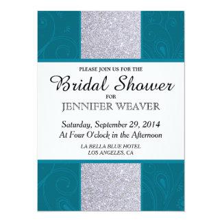 Silver Glitter and Aqua Teal with Swirly Design 14 Cm X 19 Cm Invitation Card