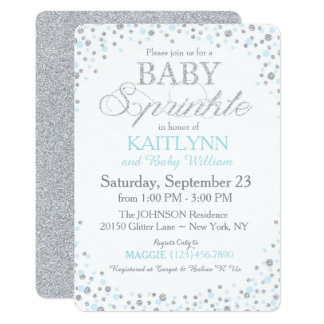 Silver Glitter and Blue Sprinkle Baby Shower Card