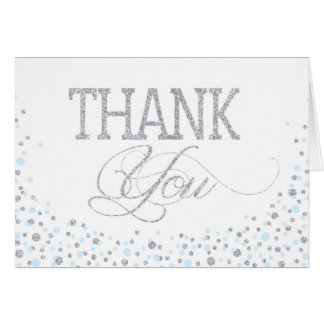 Silver Glitter and Blue Sprinkles Thank You Card