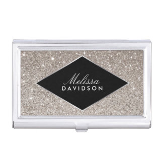 Silver Glitter and Glamour Beauty Business Card Holder