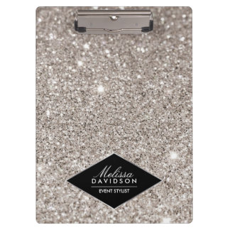 Silver Glitter and Glamour Beauty Personalized Clipboard
