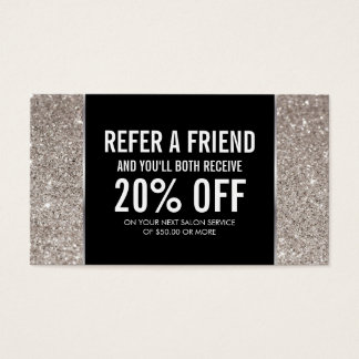 Silver Glitter and Glamour Referral Card