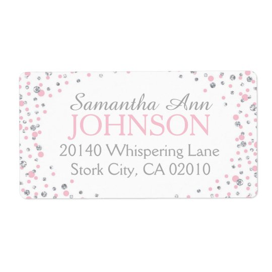 Silver Glitter and Pink Dot Sprinkles Shipping Label