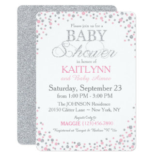 Silver Glitter and Pink Sprinkle Baby Shower Card