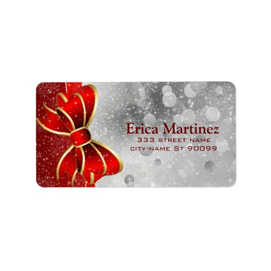 Silver Glitter And Red Christmas Sparkles Bow Address Label