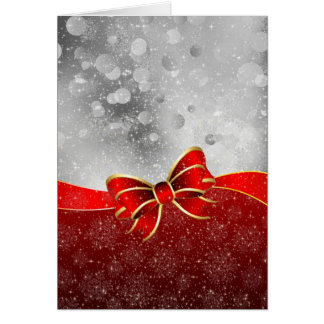 Silver Glitter And Red Christmas Sparkles Bow Card
