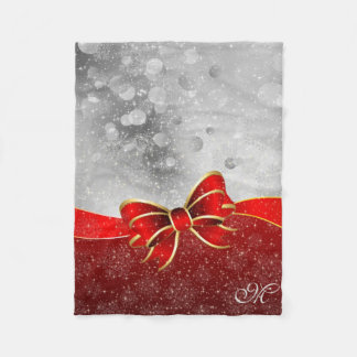 Silver Glitter And Red Christmas Sparkles Bow Fleece Blanket