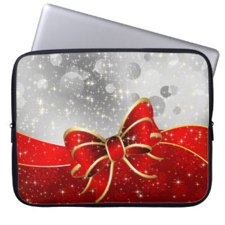 Silver Glitter And Red Christmas Sparkles Bow Laptop Sleeves
