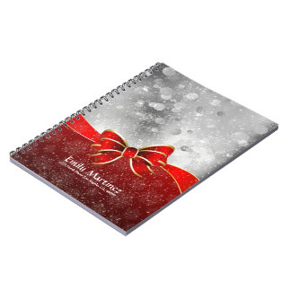 Silver Glitter And Red Christmas Sparkles Bow Notebook