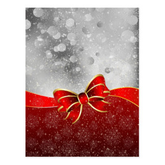 Silver Glitter And Red Christmas Sparkles Bow Postcard
