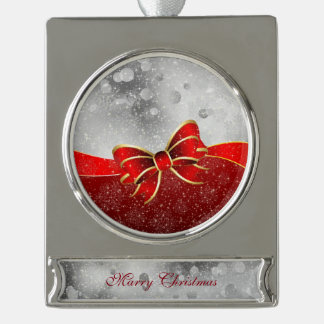 Silver Glitter And Red Christmas Sparkles Bow Silver Plated Banner Ornament