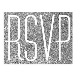 Silver Glitter and White RSVP Postcard