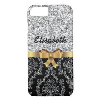 SILVER GLITTER  BLACK DAMASK  GOLDEN BOW MONOGRAM iPhone 8/7 CASE