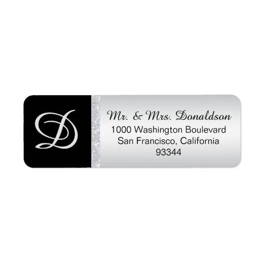 Silver Glitter Black Monogram Letter Initial Return Address Label