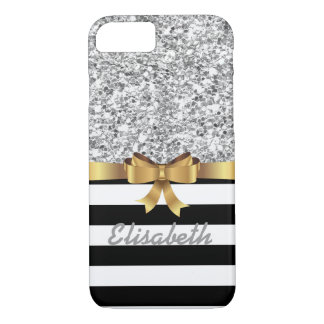 SILVER GLITTER BLACK stripe GOLD BOW MONOGRAM iPhone 8/7 Case