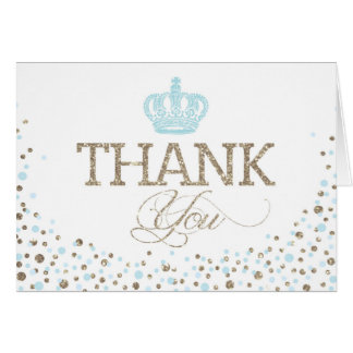Silver Glitter Blue Royal Crown Prince Thank You Card