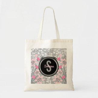Silver Glitter Bokeh Pink Floral   Monogram Script Tote Bag