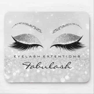 Silver Glitter Branding Beauty Studio Lashes 2Glam Mouse Pad