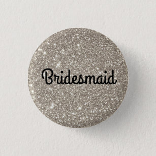 Silver Glitter Bridesmaid 3 Cm Round Badge