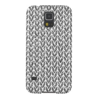 Silver Glitter Chevrons Knit Style Print Galaxy S5 Case