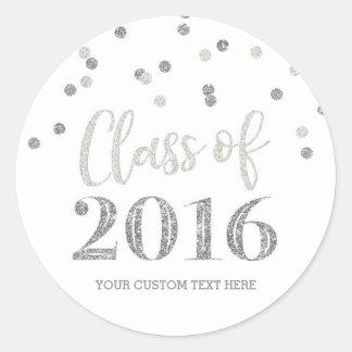 Silver Glitter Confetti Graduation 2016 Round Sticker