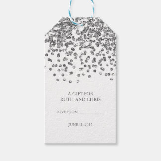 Silver Glitter Confetti Party Tags