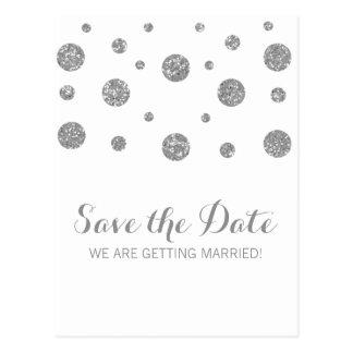 Silver Glitter Confetti Save the Date Postcard