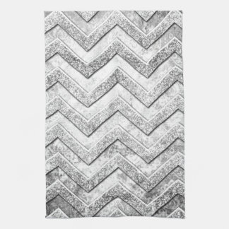Silver glitter damask chevron pattern. tea towel
