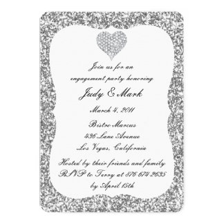 Silver Glitter Diamond Heart Engagement Party Card