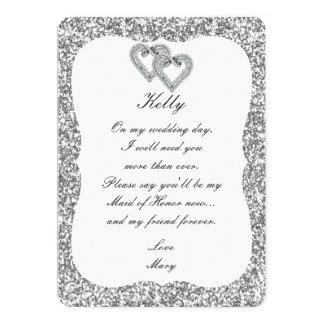 Silver Glitter Diamond Hearts Maid Of Honor Card 13 Cm X 18 Cm Invitation Card